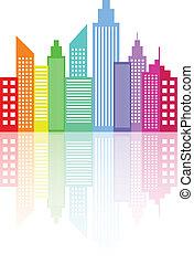 moderno, perfil de ciudad, rascacielos