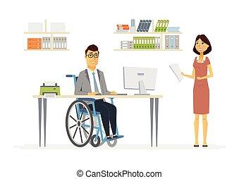 moderno, persone, gli utenti disabili, lavoro, -, illustrazione, persona, caratteri, cartone animato
