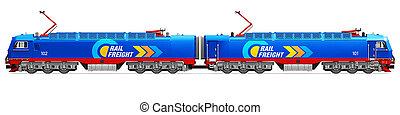 moderno, pesado, carga, eléctrico, locomotora