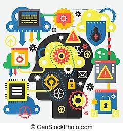 moderno, plano, concepto, de, grande, datos, y, nube, technology., conjunto, de, aplicación, ventana, servidores, computador portatil, y, nubes, cerca, cabeza, silhouette., nube, informática, tecnología, banner.