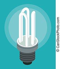 moderno, plano de fondo, ahorro, bombilla, ilustración, plano, blanco, azul, vector, energía, icono, lámpara, luz