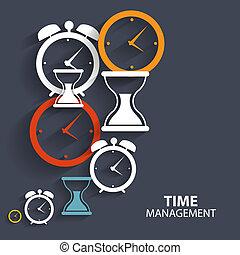 moderno, plano, gerencia de tiempo, vector, icono, para,...