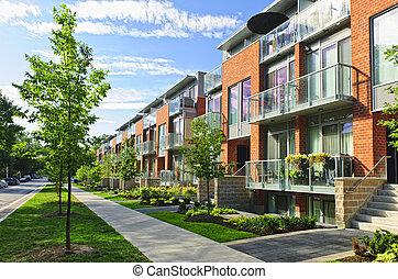 moderno, pueblo, casas