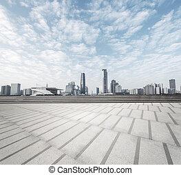 moderno, quadrato, con, orizzonte, e, cityscape, fondo