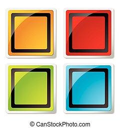 moderno, quadrato, icona