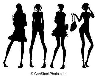 moderno, ragazza, silhouette