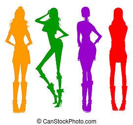 moderno, ragazze, silhouette