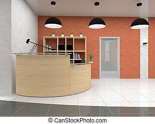moderno, recepción, en, oficina, 3d, interpretación