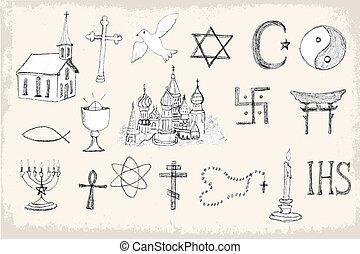 moderno, religión, vector, conjunto, elementos
