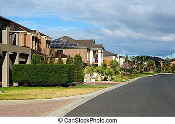 moderno, residencial, hogares