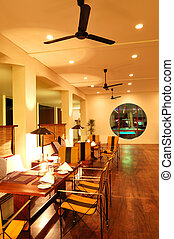 moderno, ristorante, sri, notte, interno, lanka, illuminazione, bentota