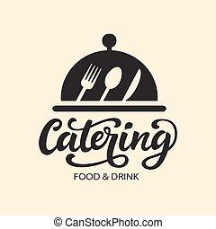 moderno, ristorazione, vettore, logotipo, calligrafia, distintivo