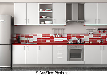 moderno, rojo, diseño, cocina, interior