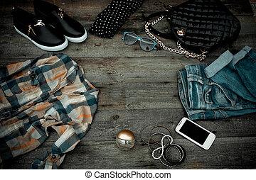 moderno, ropa mujeres, y, accesorios