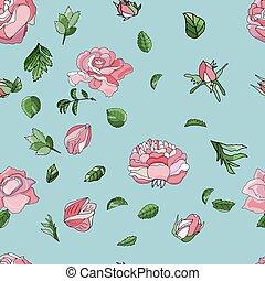 moderno, rosa, seamless, vector., patrón