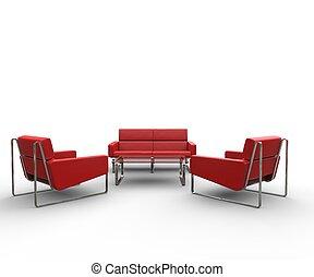moderno, rosso, mobilia