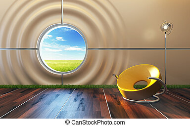 moderno, salón, habitación, interior