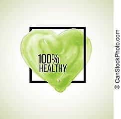 moderno, sano, etichetta, acquarello, cuore