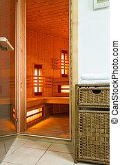 moderno, sauna, en, un, lujo, apartamento