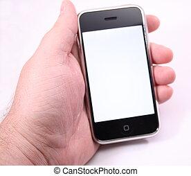 moderno, schermo tocco, telefono, schermo bianco