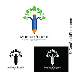 moderno, scuola, logotipo, sagoma