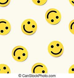 moderno, seamless, giallo, fondo., ridere, sorriso, felice