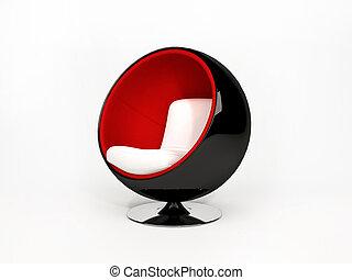 moderno, semicircular, sillón, aislado, blanco, plano de...