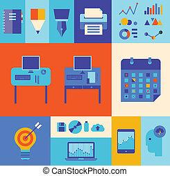 moderno, set, illustrazione affari, workflow