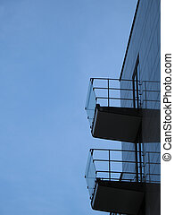 moderno, silhouette, balcone