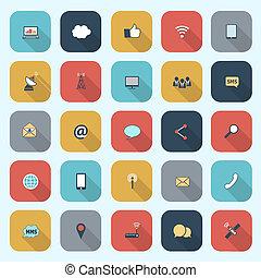 moderno, simple, comunicación, iconos, conjunto, en, plano,...