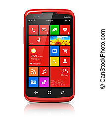 moderno, smartphone, con, touchscreen, interfaz