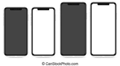 moderno, smartphone, con, vuoto, nero bianco, schermo