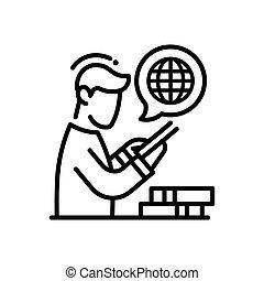 moderno, -, solo, vector, en línea, línea, educación, icono