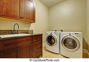 moderno, stanza bucato, apparecchi