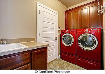 moderno, stanza bucato, apparecchi, rosso