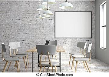 moderno, stanza riunione, annuncio pubblicitario, spazio