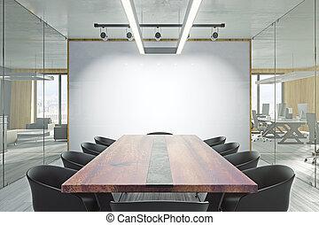 moderno, stanza riunione, whiteboard