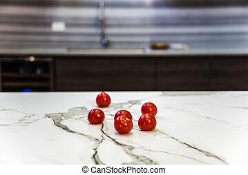 moderno, su, disegnato, nuovo, chiudere, pomodori, cucina