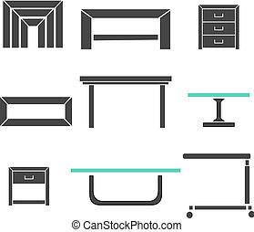 moderno, tavoli, set