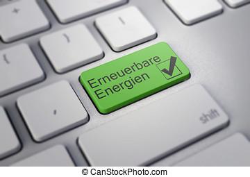 moderno, teclado, con, verde, energía renovable, llave