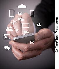 moderno, tecnología inalámbrica, y, social, medios