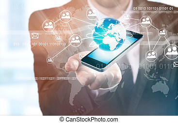 moderno, tecnologia fili, e, sociale, media