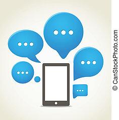 moderno, teléfono móvil, con, grupo, de, discurso, nubes