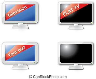 moderno, tela, 2.0, plano, televisión, iconos