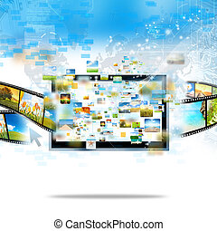 moderno, televisión, correr