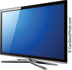 moderno, televisión, lcd