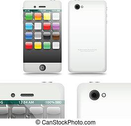 moderno, touchphone, adminículo