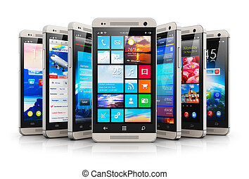 moderno, touchsreen, colección, smartphones