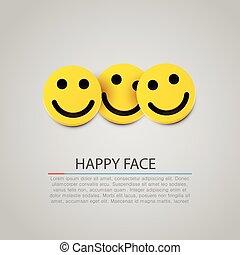 moderno, tre, giallo, vettore, ridere, smiles.