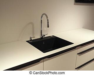 moderno, trendy, disegno, bianco, legno, cucina